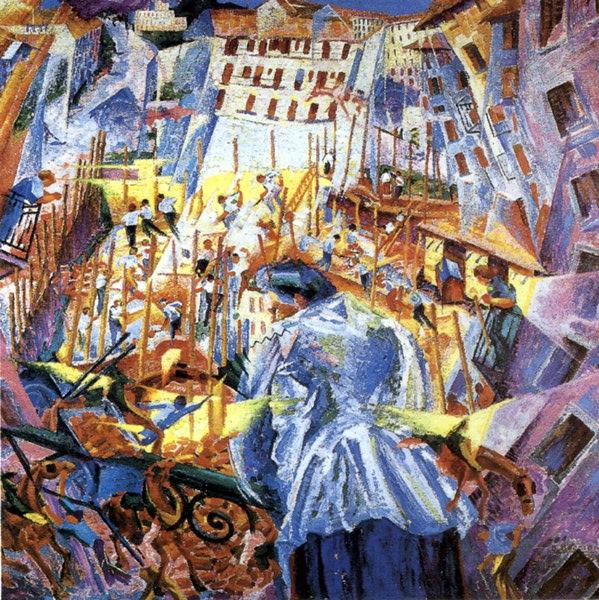 Boccioni, La strada entra nella casa, 1911