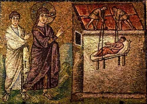 la guérison du paralytique de Capharnaüm dans images sacrée paralitico