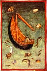 Anonimo fiorentino, Il naufragio della nave di Ulisse, 1390-1400 ca., Biblioteca Apostolica Vaticana, MS lat. 4776, Città del Vaticano
