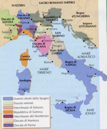 Cartina Dellitalia Nel 400.L Italia Dal 1500 Al 1700