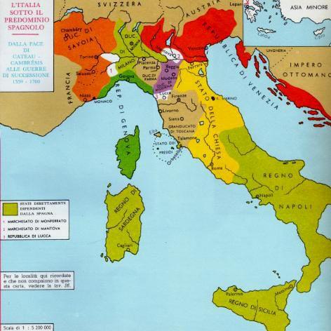 Cartina Italia 1500.L Italia Del Seicento