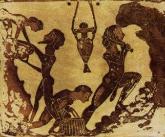 Minatori schiavi al tempo degli Egizi che cercano di estrarre oro.
